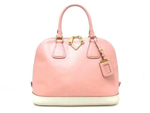 【お買得!】 レザー【】20200305 プラダ - PRADA ピンク×アイボリー レディース ハンドバッグ-バッグ