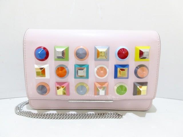 素晴らしい外見 フェンディ FENDI 財布 レディース 美品 - 8M0346 ピンク チェーンウォレット/マルチスタッズ レザー【】, Smile Garden&EX 2d05e98c