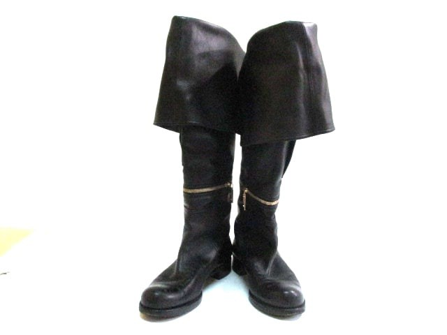 【ご予約品】 ロングブーツ ルイヴィトン 37 1/2 レザー【】20191121 レディース 黒 VUITTON LOUIS-靴・シューズ