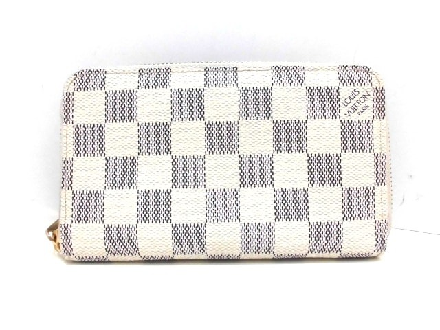 best service 9a0e3 8d7b7 ルイヴィトン LOUIS VUITTON 2つ折り財布 ダミエ レディース 美品 ジッピー・コンパクト ウォレット N60029  アズール【中古】20190627