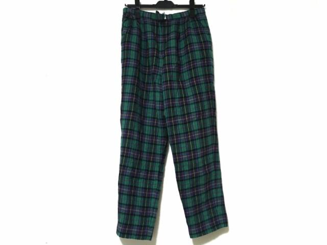 レリアン Leilian パンツ サイズ9 M レディース グリーン×パープル×マルチ チェック柄【】20191025