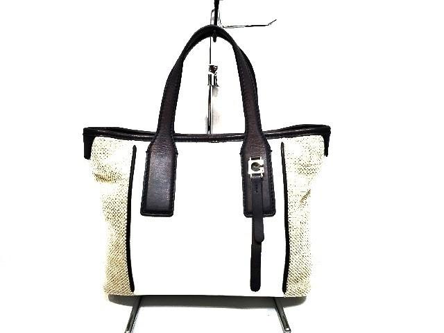 ゲラルディーニ GHERARDINI トートバッグ レディース 白×ベージュ×黒 PVC(塩化ビニール)×麻×レザー【】20200120