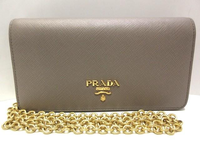 【メーカー公式ショップ】 プラダ PRADA 財布 レディース 美品 - 1DH029 アルジッラ(グレージュ) チェーンウォレット サフィアーノメタル(レザー)【】20200117, CANSASS jeans aa4ac785