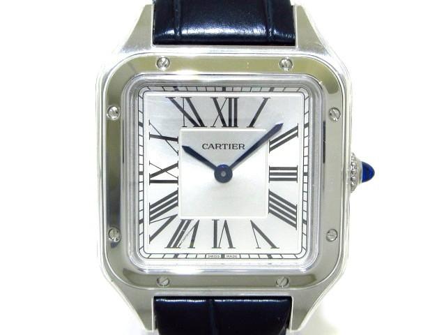 第一ネット カルティエ Cartier 腕時計 美品 サントス デュモン SM WSSA0023 レディース SS/アリゲーターベルト シルバー【】20200310, ワインギャラリー コレット 84283fb9