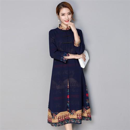 綿麻素材 ロングワンピチャイナドレス 長袖マキシワンピース 紺色2