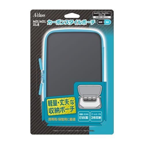 【New2DS LL/New3DS LL/3DS LL】カーボンスタイルポーチ ブラック×ブルー SASP-0435 カーボンスタイルポーチ ブラック【返品種別B】