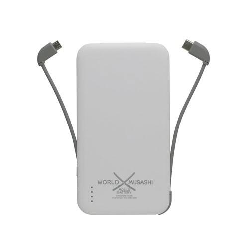 J-Force 2タイプケーブル収納モバイルバッテリー「世界武蔵」 5000mAh USB Type-C&マイクロUSB(ホワイト) JF-PEACE10MCW【返品種別A】