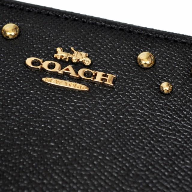 822dc4bec8d61f コーチ COACH 財布 長財布 F55610 IMBLK ボーダー スタッズ レザー アコーディオン ジップアラウンド ブラック