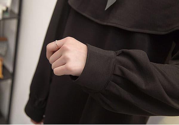 大きいサイズ対応 レディース/XL-5XL/リボン付きケープ風デザイン パフスリーブワンピース チュニック /体型カバー【予約】chmnf-89398