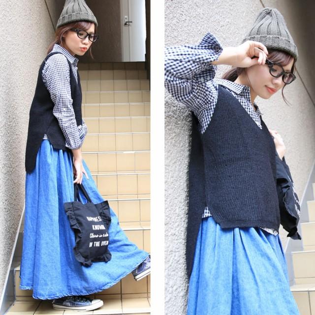 大きいサイズ 畦編みニットベスト サイドスリット キャミソール 秋ファッション【即納】WN0011