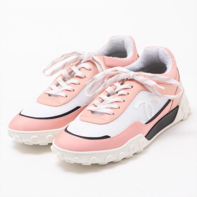 【海外輸入】 19C ピンク キャンバスxレザー スニーカー シャネル レディース サイズ38-靴・シューズ