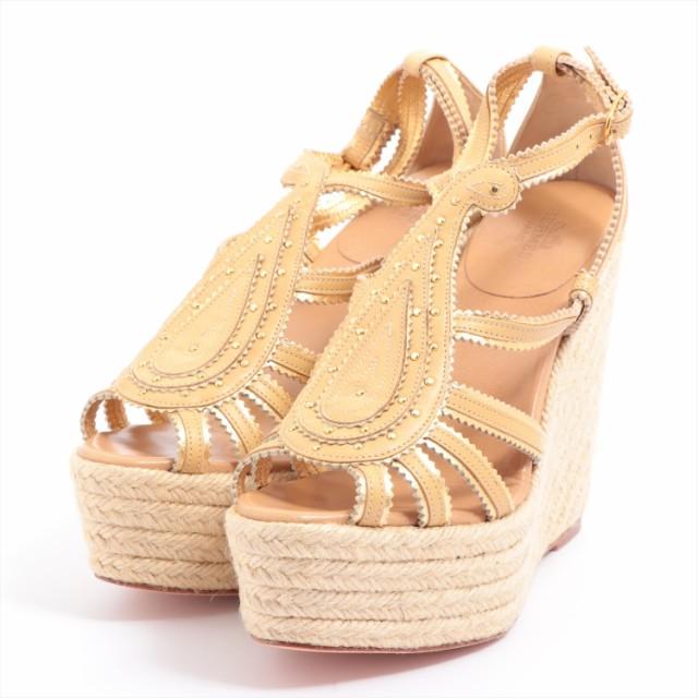 絶対一番安い エルメス ウェッジソールサンダル サイズ35 ゴールド レザー レディース エスパドリーユ-靴・シューズ