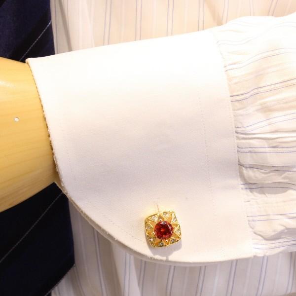 ゴールド×レッド・きらきらストーンのカフス(カフリンクス/カフスボタン)