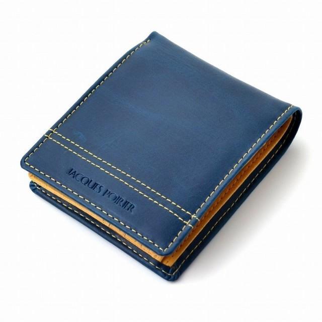 ジャック・ポワリエ 牛革二つ折り財布-フランスの伝統- JP-5003(ネイビー)[メール便発送、送料無料、代引不可]