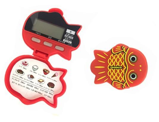 時計・ストップウォッチ機能付 金魚型5徳歩数計 かわいいデザイン 万歩計[メール便発送、送料無料、代引不可]