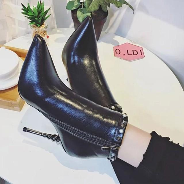 【SALE/セール】ブーツ ピラミッドスタッズ レッドソール 赤いソール ヒール高 9cm サイドジップ ポインテッドトゥ ピンヒール NXL0094