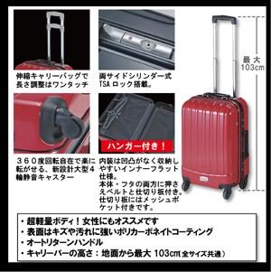 【送料無料】トラベルスーツケースM[TSA両サイドシリンダー]