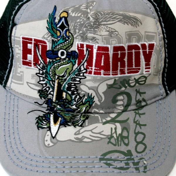 Ed Hardy エドハーディー CEP CAP キャップ DRAGON&SWORDS A0O0HADN グレー×ダークグリーン (35)