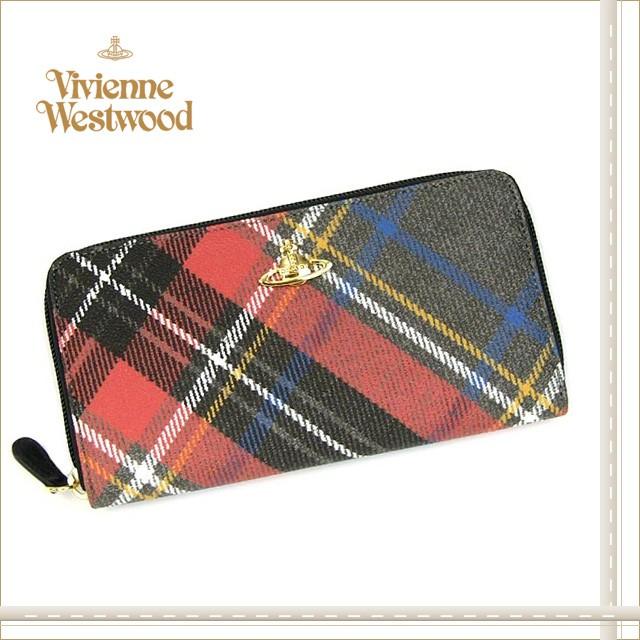 ヴィヴィアン・ウエストウッド/ Vivienne Westwood DERBYゴールドオーブ★ラウンドファスナー長財布RD×BR SALE