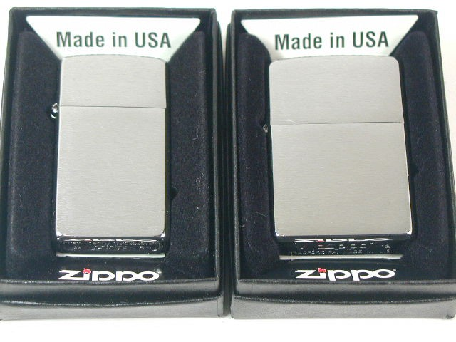 ジッポーZippoブラッシュクローム・ペア2個 プレーン#200&1600