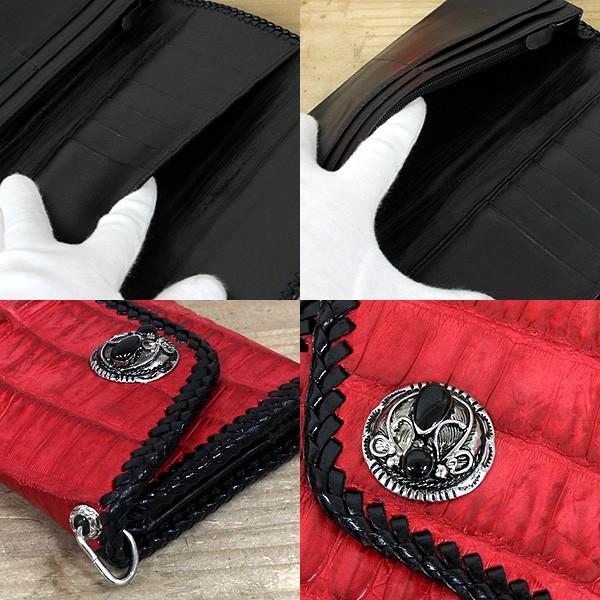 [送料無料]長財布 ロングウォレット 本牛革 クロコダイル 天然サドルレザー メンズ fshs-16-red