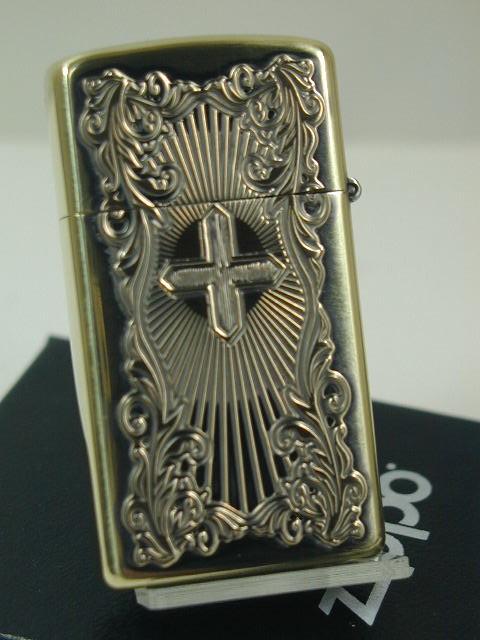 スリム・ジッポーZippoアラベスク マリア・ディープエッチング・クロス真鍮古美・両面