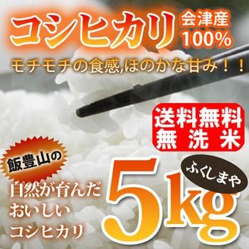 【送料無料】【平成28年産】【無洗米】福島県会津産コシヒカリ(5kg)