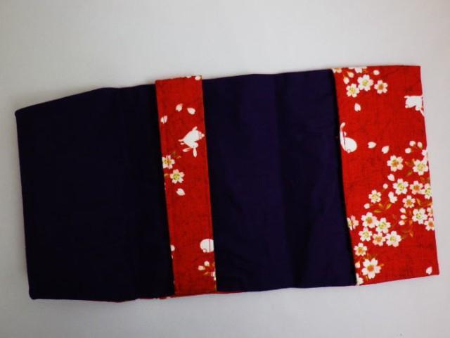 和柄ブックカバー(文庫本サイズ)桜うさぎ赤色 和小物