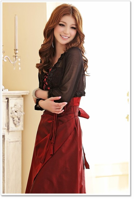 464c045a38f71 夏UV対策 長袖 シフォン☆結婚式 パーティー ドレス バラ スパンコール カーディガン ボレロ