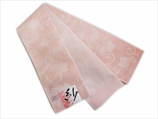 単衣&夏物着物・浴衣に 夏用紗半巾帯半幅帯細帯薄ピンク地蔦葡萄