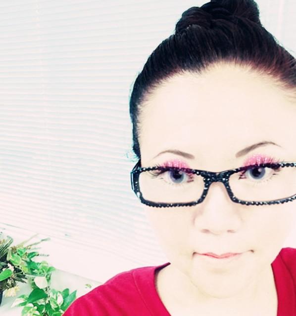 紫色 レンズなし ファッションメガネ キャンディーカラー 可愛いデコ キラキラ パーティやイベント