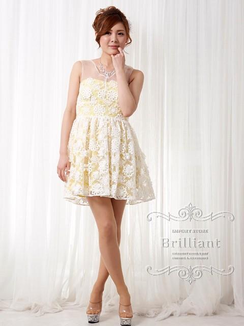 f18c1e2e47369 春夏新作 フェミニンオーガンジー シースルー ミニワンピース ミニドレス 花柄レース刺繍 Aライン