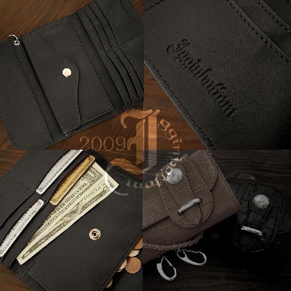 【送料無料】財布 イギンボトム バイカーズウォレット クロコ型押し 長財布 IG-8710 (BK/CA)2色