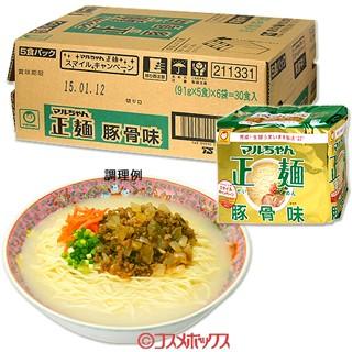 【●お取り寄せ】東洋水産 マルちゃん正麺 豚骨味 91g×5食×6袋入り(ケース販売)
