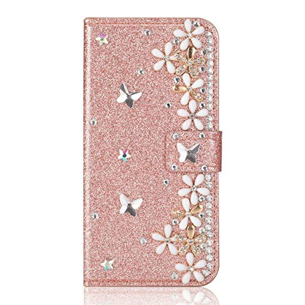 5898b1a267 iphone 5 / 5S iphone SE ケース 手帳型 おしゃれ お花 蝶々 デザイン かわいい きらきら デコ