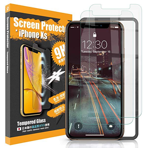 e535c8a1d8 2枚入り] iPhone XS iPhone X ガラスフィルム 透明 アイフォンXS 「装着 ...