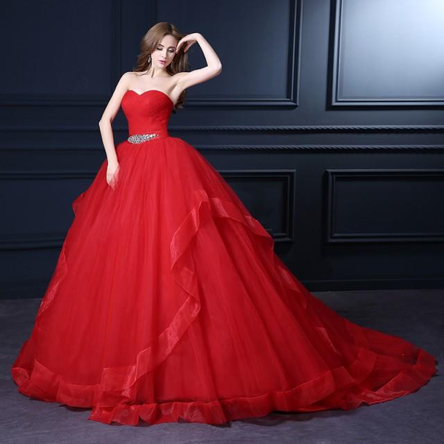 ウェディングドレス カラードレス ビスチェ トレーン 赤 ♪結婚式 披露宴 パーティー 舞台 H077