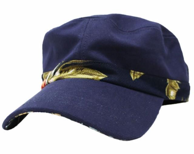 【大きいサイズ帽子 65cm】リーフベルトキャンバスワークキャップ★ネイビー