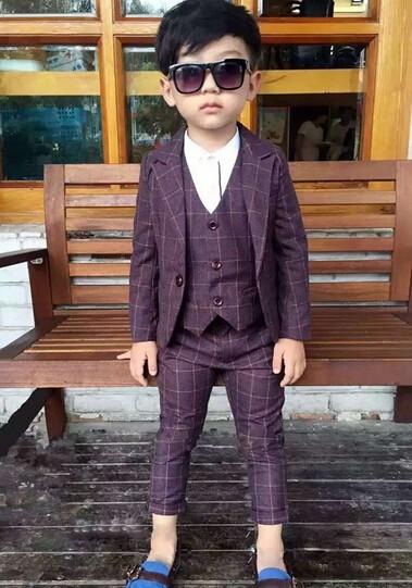 4d387f6e9a3b7 結婚式 長袖スーツ+パンツ+ベスト フォーマル子供服 男の子スーツ発表会 ...