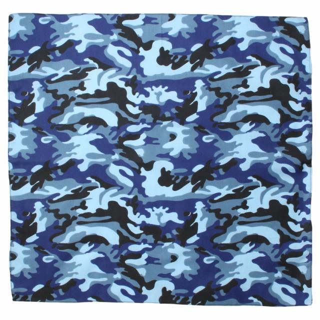 バンダナ ハンカチ メンズ レディース 迷彩 ブルー 50×50 綿 ファッション 小物 おしゃれ お弁当 弁当箱 クロス