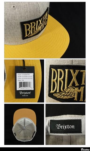 ブリクストン コヴェントリー 6パネル スナップバックキャップ ライトヘザーグレー/ゴールド (Brixton COVENTRY)