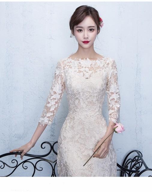 ドレス ウェディングドレス ロング丈ドレス 二次会 パーティードレス 結婚式 お呼ばれ ロングドレス レース 成人式 ドレスの通販はWowma!
