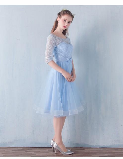 二次会ドレス パーティドレス キャバドレス花嫁 ウエディング イブニングドレス 結婚式ワンピース ミディアムドレス 五分袖 同窓会