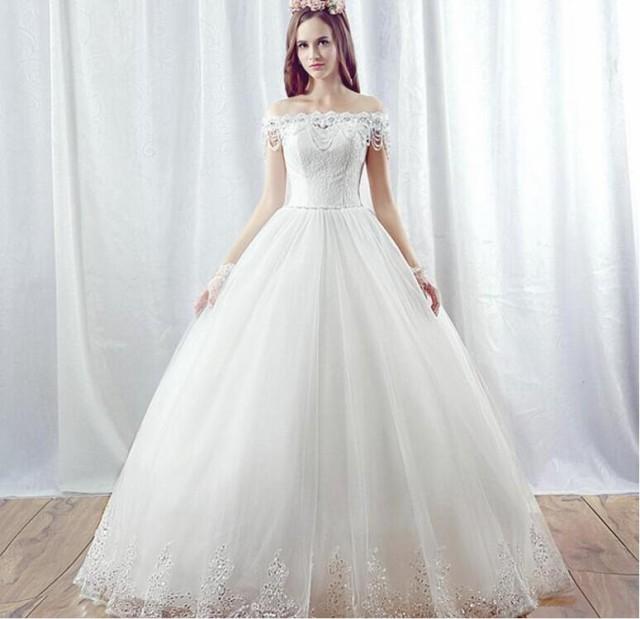 ウェディングドレス パーティードレス ホワイト 結婚式 大きいサイズ ブライダルドレス オフショルダー レース ロングドレス  編み上げの通販はWowma!