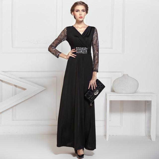 3c46401a183bd 高品質☆ナイトドレス ロングドレス パーティードレス 舞台ドレス ワンピース Vネック 黒♪