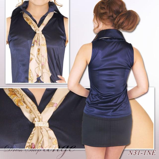 ST1604-004/プリントスカーフ付き 光沢サテン ノースリーブ ブラウス シャツ
