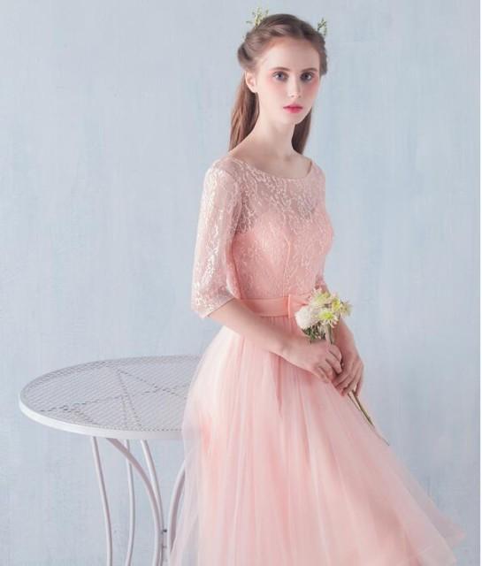 パーティドレス キャバドレス 結婚式ワンピース 花嫁 二次会 ウエディング イブニングドレス お呼ばれ ミディアムドレス 五分袖 同窓会