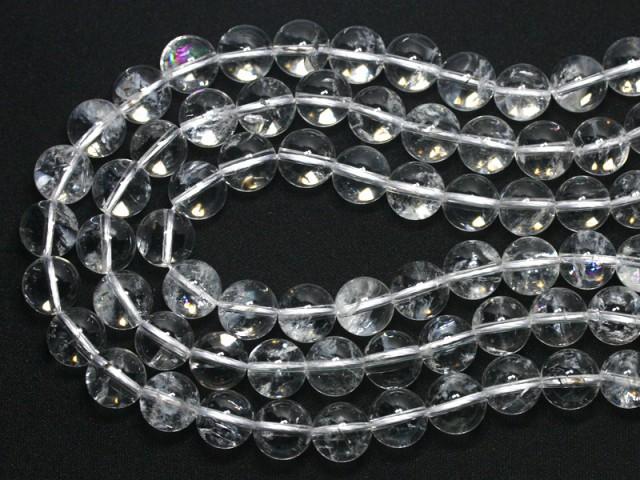 天然石 ビーズ【丸ビーズ】天然レインボー水晶(アイリスクォーツ) (3A) 12mm (半連 ブレスレット約1本分) パワーストーン