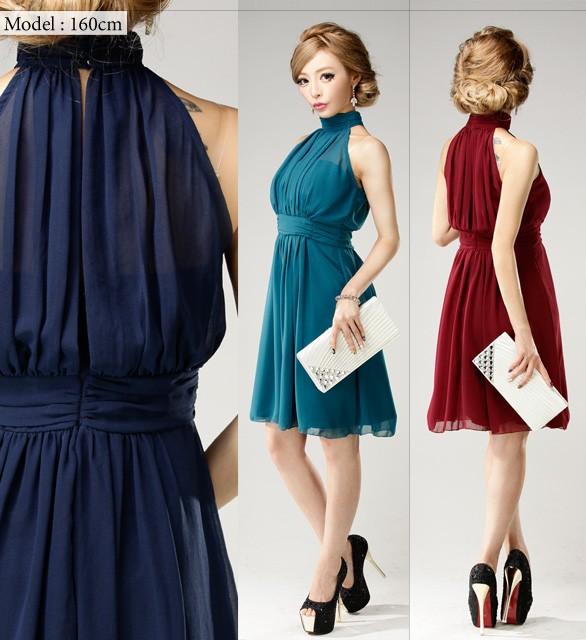 【アウトレット】【4サイズ】ハイネックシアーデコルテ シフォンフレアワンピースドレス