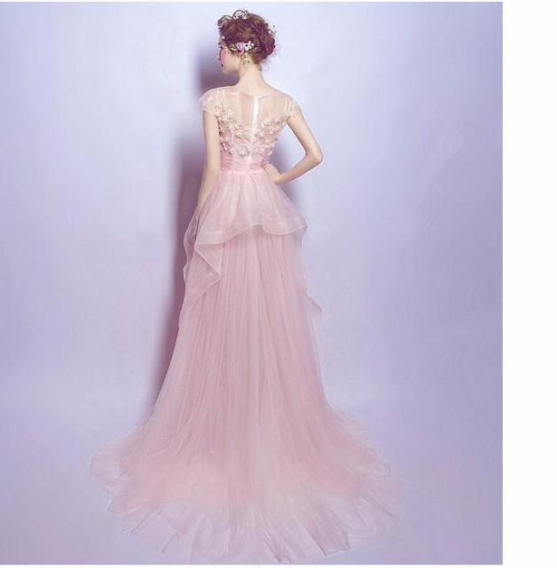 極めて豪華ウェディングドレス可愛い二次会ロングドレスウエディングドレスエンパイアラインオフショルダーレース可愛い姫系